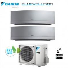 Climatizzatore Daikin Dual Split 7+9 Inverter Serie Emura Silver Wi-fi R-32 Bluevolution 7000+9000 Con 2mxm40m