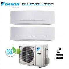 Climatizzatore Daikin Dual Split 9+12 Inverter Serie Emura White Wi-fi R-32 Bluevolution 9000+12000 Con 2mxm40m