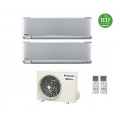Climatizzatore Condizionatore Panasonic Dual 12+12 Inverter+ Serie Etherea Da 12000+12000 Btu Con Cu-2z50tbe R-32 Silver