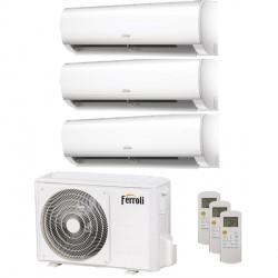 Climatizzatore Condizionatore Ferroli Diamant M Wifi R32 Trial Split DC Inverter 12000 + 12000 + 12000 2C09AA1F Classe A++/A+