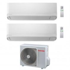 Climatizzatore Condizionatore Dual 10+10 Toshiba Mod Seiya Da 10000+10000 Btu Con Ras-2m18u2avg Gas R32 In A++ Wi Fi Ready
