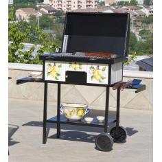 Barbecue Decorato Mod. Amalfi In Acciaio Con Coperchio E Ruote