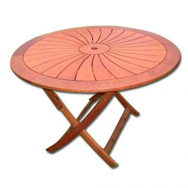 Tavolo da esterno giardino tondo in legno balau pieghevole mod flower cm 120x74h - Tavolo pieghevole da esterno ...