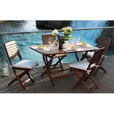 Tavolo da esterno giardino in legno balau pieghevole mod flower cm 150x90x74h - Tavolo pieghevole da esterno ...