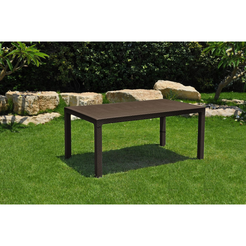 Tavolo da esterno giardino in resina antiurto effetto polirattan mod melody cm 160x94x74h marrone - Tavoli in resina da esterno ...