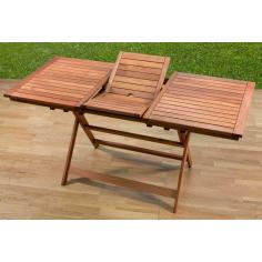 Tavolo Da Esterno Giardino In Legno Meranti Allungabile Cm 120-160x70 Cod.85660