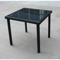 Tavolo Da Esterno Giardino In Polirattan Con Vetro Cm 80x80x74 Mod. New Edera
