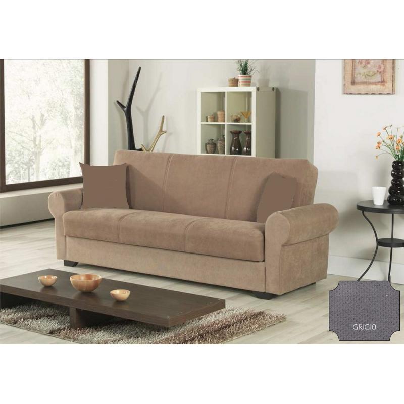 Divano letto manuale con contenitore cm 225x86x88h moderno colore grigio mod firenze - Divano letto con contenitore ...