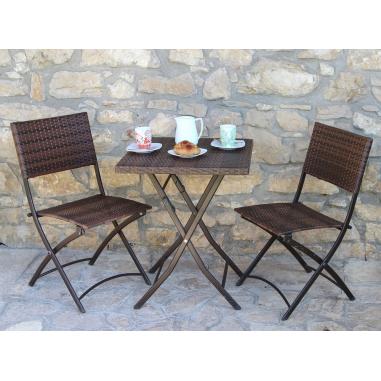 Tavolini E Sedie Da Esterno.Set Duetto Da Esterno Completo Tavolino E 2 Sedie In Polirattan