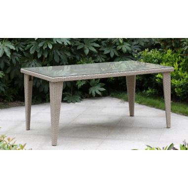 Tavolo da esterno giardino in rattan con vetro mod mafalda cm 160x90x75h beige - Tavolo in rattan da giardino ...