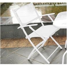 Coppia Poltrone In Acciaio Verniciato Bianco Con Telo In Poliestere Cm 57x56x85h Per Tavolo Mod. Mercurio