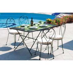 Tavolo Da Esterno Giardino In Acciaio Verniciato Mod. Apollo Cm 140x80x74h