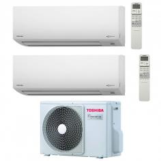 Climatizzatore Condizionatore Toshiba Dual Split Inverter Akita Evo Ii 13000+16000 Btu Classe A++ Con Ras-2m18s3av-e