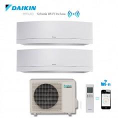 CLIMATIZZATORE DAIKIN DUAL SPLIT 7+9 INVERTER EMURA WHITE wi-fi 7000+9000 CON 2MXS40H
