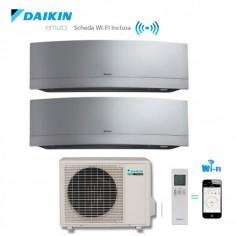 CLIMATIZZATORE DAIKIN DUAL SPLIT 7+9 INVERTER EMURA SILVER wi-fi 7000+9000 CON 2MXS40H