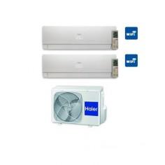 Climatizzatore Condizionatore Haier Dual 7+7 Serie Nebula White Inverter 7000+7000 Btu Con 2u18cs4era A++