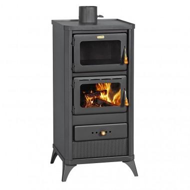 Stufa a legna mod fime da 12 16 kw nero opaco con forno cod 93397 for Termostufe a legna con forno