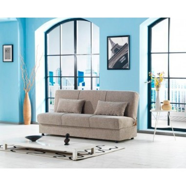 Divano letto in tessuto con contenitore cm 190x64x90h - Divano beige colore pareti ...