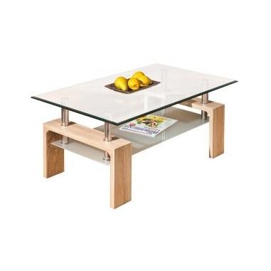 Tavolino Da Soggiorno Moderno Modello Loana Composto Da Doppio Vetro Color Rovere Cod 93474