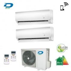 CLIMATIZZATORE CONDIZIONATORE DILOC DUAL SPLIT 12+12 INVERTER WALL 12000+12000 BTU CON WALL-OUT200 A++ Wi-Fi INCLUSO